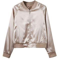 Khaki Zip Up Satin Bomber Jacket (690 MXN) ❤ liked on Polyvore featuring outerwear, jackets, tops, bomber jackets, bomber, pink zip up jacket, khaki bomber jacket, khaki jacket, style bomber jacket and flight jacket