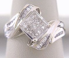 Very Modern Style .77ct Total Invisible Set Princess Cut Diamonds as Primary plus Baguette  Round Diamond Accents by americanjewelryco, $580.00
