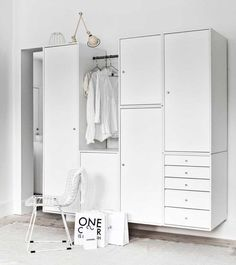 Bedroom modular white wardrobe from Montana of Denmark