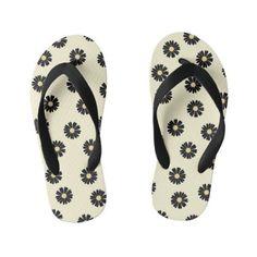 Black Daisy Pattern Kid's Flip Flops Girls Flip Flops, Daisy Pattern, Flipping, Girls Shoes, Shoes Sandals, Seafarer, Kids, Prints, Black