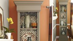 Tin ceiling tiles added to back of bookcases or cabinets make a stylish statement in an otherwise 'void' area.