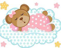 SLEEPY PINK TEDDY Bear Moon Wall Mural Decals by decampstudios