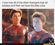 Picture memes 1 comment — iFunny - I love how all of the other Avengers look all badass and then we have this little cutie: – popula - Funny Marvel Memes, Marvel Jokes, Dc Memes, Avengers Memes, Funny Memes, Marvel Dc, Marvel Comics, Tom Holland Peter Parker, Tommy Boy