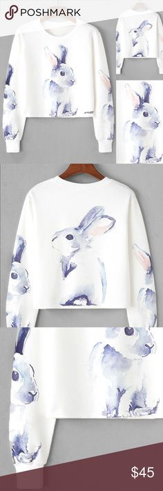 Watercolor Bunny Fun Easter theme sweatshirt Measurements see chart above. Soft and comfortable. Fun and pretty. Tops Sweatshirts & Hoodies