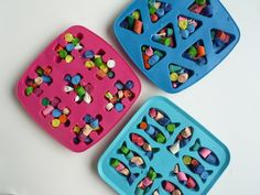 Make your old broken little crayons pieces into new way awesome crayons! Silicon baking trays. 200 degrees for 10-15 min.