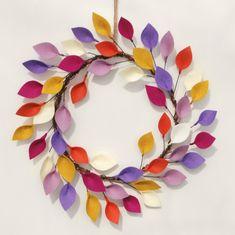 Brillante corona de verano con fieltro hojas por CuriousBloom