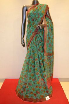 Gorgeous Pure Floral Silk Chiffon- Rama Blue Product Code: AA204335  To shop online click here: http://www.janardhanasilk.com/index.php?route=product/product&product_id=1377&search=AA204335