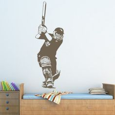 Batsman Cricket Sports and Hobbies Wall Decal Wall Art Stickers - Cricket - Sports & Hobbies