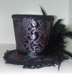 Burlesque Showgirl Goth Steampunk Mini Top Hat Purple and Black Brocade