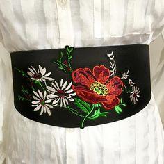 Rainbow flower embroidery Belt  Rich embroidered Belt