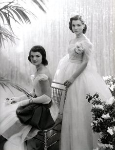 Jacqueline and Lee Bouvier before their debutante ball [1951]