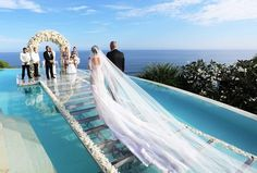 """Pool wedding - Beautiful ocean seaside wedding Aisle is glass over water of infinity pool Location Tropical island in Caribbean or pacific ocean maybe Maldives or Hawaii """"Tag your love ❤️ Photo ©Monic Pool Wedding, Seaside Wedding, Bali Wedding, Dream Wedding, Wedding Day, Sunset Beach Weddings, Summer Wedding, Greece Wedding, Wedding On The Beach"""