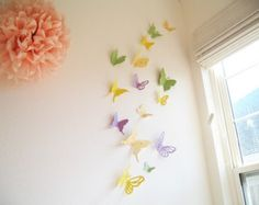 Items similar to Butterfly Wall Stickers: 20 Sand Yellow 3D Paper Butterflies for Nursery, Children's Room, Home Decor on Etsy