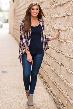 """""""Plaid Tabbed Sleeve Flowing Cardigan - Navy-Plum""""This cardi takes cute and casual to a new level! The plaid cardigan is so chic! #newarrival #shopthemint"""