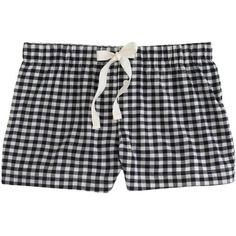 J.Crew Sleep short in gingham flannel (76 ILS) ❤ liked on Polyvore featuring intimates, sleepwear, pajamas, shorts, bottoms, pyjamas, j crew pjs, flannel pjs, short pyjamas and short pajamas