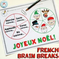 FREE Christmas-themed French brain breaks: a fun way to get your kids moving, recharging, and refocusing! Halloween Bingo, Halloween Worksheets, Christmas Worksheets, Christmas Activities, Halloween Themes, Christmas Themes, Noel French, French Christmas, French Classroom