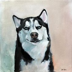 The original Casanova. Oil on Canvas, x School Portraits, Pet Portraits, Positive Images, Dog Art, Oil On Canvas, Husky Dog, Pets, Drawings, Artist