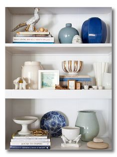 Lessons in Design :: Bookshelf Styling (many great ideas!) Love the use of vases and design books