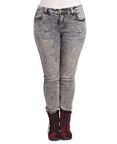 Acid Wash Skinny Jean | Wet Seal+ #jeans #denim #plussize #curvy