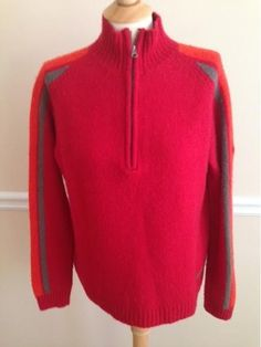 Merrell ½  Half  Zip mens sweater LARGE wool blend pullover red ski  #Merrell #12Zip