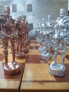 Chess set T-800, TERMINATOR, endoskeleton, metal figure, best cool gift, statuette, character, souvenir by MikeMetalMiniatures on Etsy