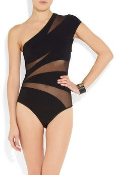 JETS by Jessika Allen White Label | Captivate mesh-insert asymmetric swimsuit | NET-A-PORTER.COM