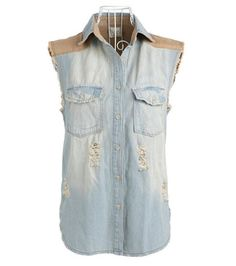 Korean Style Vintage mosaic cowboy vest denim 117  from Socishop