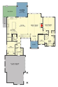 Plan 23679JD: 4 Bed Rugged Craftsman With Vaulted Foyer And Great Room