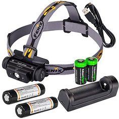 Fenix HL60R 950 Lumen USB rechargeable CREE XML2 T6 LED Headlamp 2 X Fenix 18650 rechargeable Liion batteriesAREX1 charger with 2 X EdisonBright CR123A backup batteries bundle ** Read more  at the image link.
