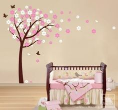 Cherry Blossom Tree Wall Decal, Blooming Cherry Tree with Butterflies Nursery Vinyl Wall Decal, Flowers Tree Wall Decal for Baby Room Decor Nursery Wall Decor, Nursery Themes, Girl Nursery, Girl Room, Room Decor, Nursery Ideas, Nursery Design, Nursery Room, Room Ideas