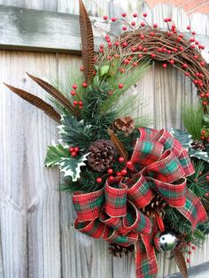 Scottish Highland Tartan Rustic Christmas by IrishGirlsWreaths