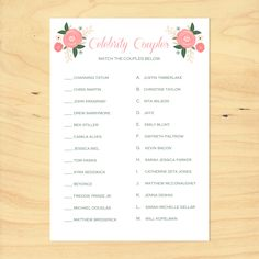 printable bridal shower game celebrity couples by on etsy