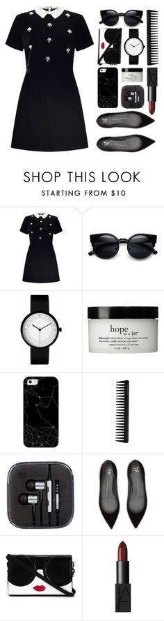 """Untitled #139"" by imelda-marcella-chandra ❤ liked on Polyvore featuring Miss Selfridge, philosophy, Casetify, GHD, Giuseppe Zanotti, Alice + Olivia, NARS Cosmetics, black, blackandwhite and LBD"