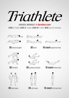 Triathlete is a Darebee FREE fitness workout that tests the body's limits. Basic Workout, Workout Routine For Men, At Home Workout Plan, Boxing Workout, Workout Ideas, Easy Daily Workouts, Fun Workouts, At Home Workouts, Body Workouts