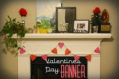 Castle DIY: How to: Valentines Day Wreath (& Other V-Day Decor) - Valentines Day Banner made from paper and yarn to decorate your fireplace for the holiday!