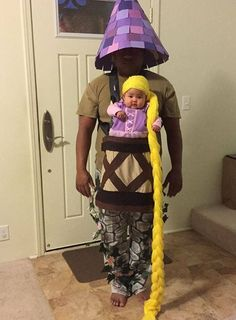 Rapunzel Baby and Dad Tower Halloween Costume