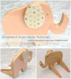 So adorable!!! Make your own Elephant Door Stop. Super easy and CHEAP! step-by-step tutorial. #DIY #wood #gifts #decor #baby