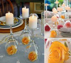 Des verres à pied retournés pour une table originale - Bougeoir et petite cloche à fleur