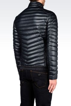 DOWN JACKET IN LEATHER EFFECT TECHNICAL FABRIC: Down coats Men by Armani - 0