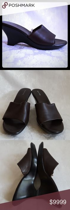 """*SALE* Brown Leather Wedge Slide Sandal Like New. Dark brown leather wedge with black 3 1/2"""" heel by Merona. Excellent condition. Smoke free and pet free home. Merona Shoes Wedges"""