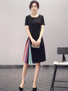 Ericdress Color Block Patchwork Short Sleeve Round Neck Casual Dress Casual Dresses