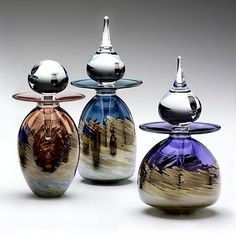 Metallic Vortex Series Perfume Bottles: Michael Trimpol: Art Glass Perfume Bottles - Artful Home