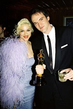 Quentin Tarantino, Madonna, and Madonna's fringe shawl. A History Of The Best Awards Show After-Party Pics #refinery29