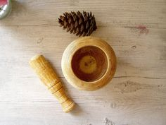 Mortar Pestle, Vintage wood mortar and pestle, herb mortar and pestle, kitchen ware. $25.00, via Etsy.