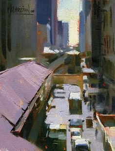 Over the El by Jennifer McChristian Oil ~ 5.5 x 4.5