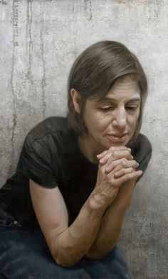 """""""Heart on Hand"""" - David Kassan, oil on panel detail {contemporary #hyperreal figurative realist woman painting}"""