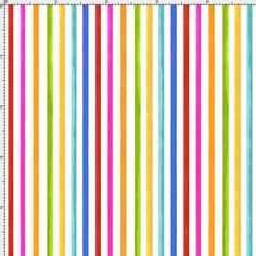 Happy Stripe White / Multi Fabric Yard
