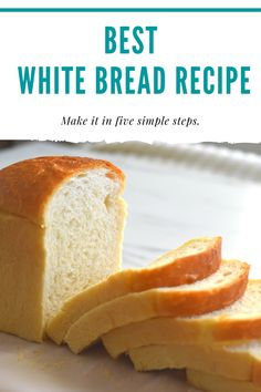 Soft and Fluffy White bread recipe We need only six basic ingredients to make this delicious bread and We can make them in FIVE SIMPLE STEPS. Step by step VIDEO Fluffy White Bread Recipe, Best White Bread Recipe, White Bread Rolls Recipe, Bread Bun, Easy Bread, Bread Machine Recipes, Bread Recipes, Dessert Bread, Dessert Recipes