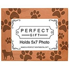 Dog Lover Gift Pug Silhouette Paw Prints Natural Wood Picture/ Photo Frame Wood