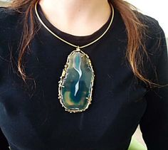 Necklace handmade in brass with agate stone. by CRISDONATI on Etsy